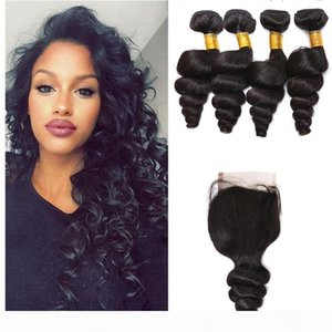 """Brazilian Hair Weave Weft Wavy Loose Wave 1PC Free Part Top Lace Closure 4""""x4"""" With 4PCS Natural Color Human Hair Bundles Extensio"""