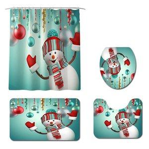 크리스마스 욕실 장식 크리스마스 샤워 커튼 포뮬러 매트 화장실 좌석 쿠션 세트 산타 눈사람 메리 크리스마스 장식 홈 EWC2774