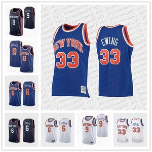 Hommes personnalisés femmes jeunesse new yorkKnicks 6Krisps Porzingis 9 R.j. Barrett 33 PatrickEwing Blue Basketback Basketball Jer