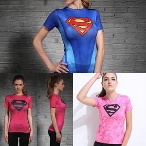 Il capitano USA vestito di forma fisica delle donne fnVYp Superman collant T-shirt collant formazione yoga donna manica corta tratto stretto T-shirt 821Rb