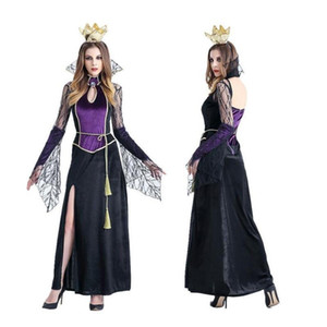 Rainha roxo moda vestido longo com corvo Costume Adult Elf Princesa Fairy Dress Tale Cosplay bruxa traje Sexy Girls