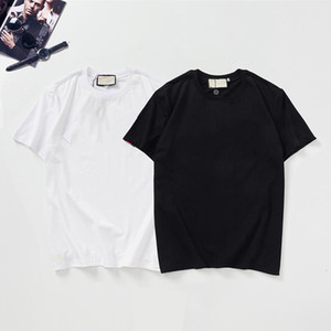 رجل تي شيرت الطباعة إلكتروني تي شيرت أسود أبيض أزياء تصميم الصيف تي شيرت الأعلى الأكمام قصيرة الأكمام