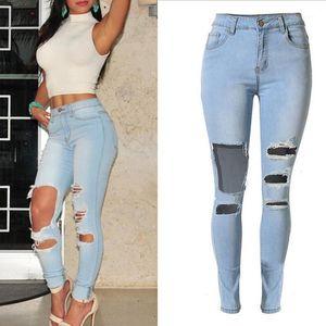 Sherhure 2020 Hohe Taille Stretch großes Loch zerrissene Skinny Jeans für Frauen Hosen femme1