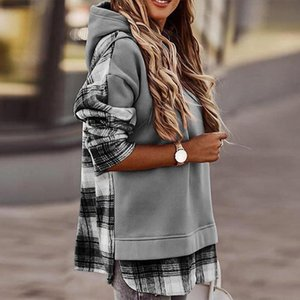 FU ll Tops femeninas Lady Split Vintage Sudaderas Mujeres Otoño Pullovers Casual Leopardo Plaid Imprimir Invierno con capucha con capucha