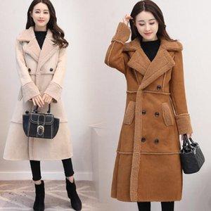 Winter lange Wildlederjacke Frauen doppelt breasted Lammwolle Windjacke Elegante Slim Fashion Jacket Mantel FZ2627