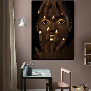 African Art Woman Portrait Oil Painting on Canvas Cuadros Posters and Prints Scandinavian Wall Art Picture for Living Room Decor