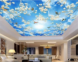 Custom 3d Photo Wallpaper Blue Sky White Cloud Flowers Bird Illustration Custom 3d Home Zenith Mural Wallpaper