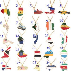US State Map Anhänger Halskette Gold Afrika Geographie Karte Halsketten Charme Schmuck Gold Frauen und Männer Modeschmuck Landkarte Halskette