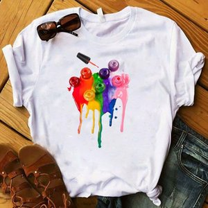 Women T Womens Graphic 3D Paint Rainbow Color Printed Top Tshirt Female Camisas Mujer Tee Shirt Ladies Clothes T shirt
