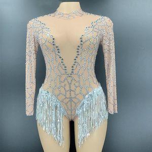 Sparkly Rhinestone Fringe Transparent Bodysuit For Women Dancer Show Leotard Celebrate Outfit Prom Bar Singer Costumes