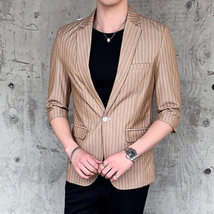 2020 SUMMER Striped Mens Blazers Slim Fit Casual Business Suit Jacket Single Button Half Sleeve Blazer Homme Wedding Suit Coat