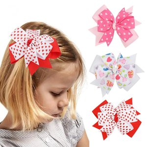Valentine's Day Swallowtail Hair Bows For Girls Kids Printed Pink Heart Hair Clips Valentine Gift Hair Accessories