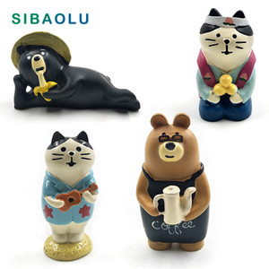 Japan Decole Black Bear Cat figurine cartoon animal Model home miniature fairy garden house cake desk decoration DIY accessories