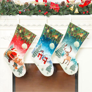 Рождественские чулки Санта снеговика Xmas висячие чулки Рождественский подарок Держатели Дети конфеты мешок Дерево украшения DDA638