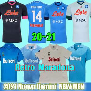 20 21 Napoli camisetas de fútbol de local visitante 2021 Nápoles INSIGNE KOULIBALY INSIGNE MILIK H.LOZANO MERTENS Terceras camisetas de fútbol negras uniformes