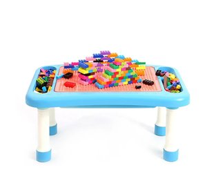 308pcs Building Blocks for Kids with Multifunctional Table to Block or Study, Compatible Base, DIY Bricks for Children Gift