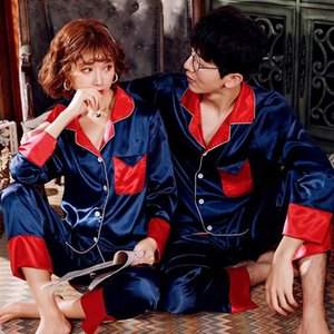 Simisi plus size pijama conjunto casal pijama falso seda colarinho colarinho cetim sleepwear respirável fresco alta qualidade casa roupas1