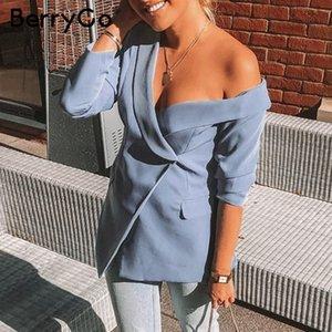 Berrygo Sexy Un Hombro Mujer Blazers Y Chaquetas Trabajo Asimétrico Invierno Blazers Pure Femenino Oficina Mujer Blazer Coat Y200107
