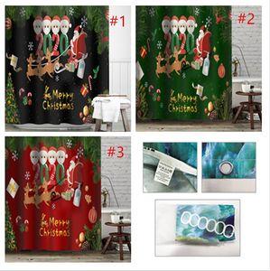 Christmas Bathroom Curtain Waterproof Shower Curtains Soft Non-slip Carpet Mat Home Decoration Partition Curtain Bath Curtains Xmas E101305