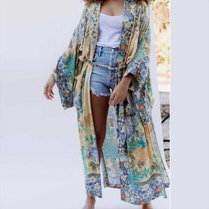 Ayualin Kimono кардиган халат для женщин осенью длинные кимоно свободные цветочные напечатанные топы боковые прорези утончки обертывают блузки рубашки Bluss