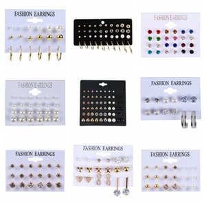 6-30Pairs Set Crystal Rhinestone Pearl Stud Earrings Set Fashion Birthday Stone Simple Earrings Jewelry For Women