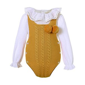 Pettigirl Baby Cute Girl Romper Sweater Newborn Boy Jumpsuit White Shirt Yellow Infant Clothing U-DMCS307-434Y