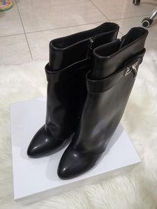 in pelle SHARK piatta tacco stivali BLOCCO donna stivali Parigi Classico a punta nero pelle bovina serratura del bagagliaio cattura caviglia con scatola