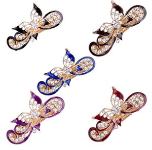 Solid Color Butterfly Hairpin For Women Inlaid Artificial Diamond Head Clip Fixed Not Easy To Fall Off Spring Hair Bands