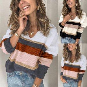 Womens Multicolor Striped V-Ausschnitt Pullover Herbst-Winter-lange Hülsen-lose beiläufige Knited Pullover Pullover Tops