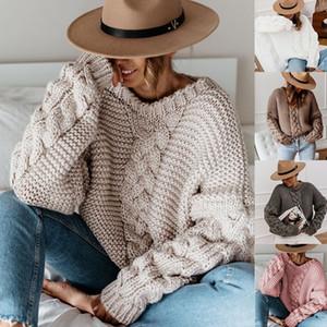 Frauen Candy Color Pullover Herbst Winter Solide Langarm Rundhalsausschnitt Lose Pullover Famale Twist Kleidung