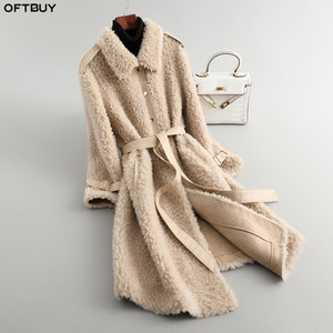 OFTBUY 2020 Winterjacke Frauen 100% Woll-Lamm-Pelz-Mantel-starke warme Outwear reale Pelz-Mantel-Gurt beiläufige Streewear Mode