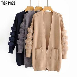 toppies 2020 autumn winter womens sweater faux fur long cardigan korean fashion knitted jacket coat Q1115