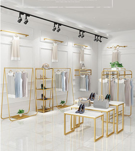 Light luxury clothing display rack clothing store clothes rack women's clothing store upper wall shelf floor type side hanging display rack