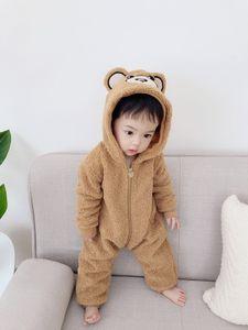 Unisex Baby Macacão Meninos Meninas Fleece Hooded Winter Jumpsuit Macio Bonito Dos Desenhos Animados Casacos Recém-nascidos Bodysuits Crianças Crianças Jaqueta