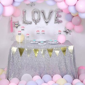 120x120cm / 120x150 cm / 120x180cm Glitzer Rechteck Tischdecke Pailletten Tischdecke für Hochzeitsfest Home Decor Silber Tischhülle1