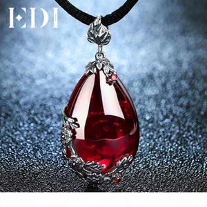 Edi Retro Royal Garnet Gemstone 100% 925 Sterling Silver Natural Chalcedony Pendant Necklace Female Fine Jewelry C19041201