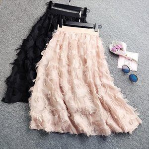 Spring 2020 Women Pleated Skirts Fashion Feather tassel Pleated Skirts High Waisted Elastic Women Casual Party Skirt