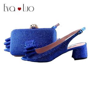 Sapatos BS1129 Custom Made Royal Blue cristal arco com correspondência Bags Set Slingbacks Bloco de salto baixo Mulheres de casamento nupcial Shoes