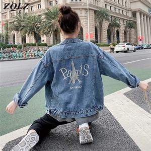 ZQLZ Streetwear dril de algodón de la chaqueta de las mujeres 2020 Nueva bordado Carta Jeans Vintage Abrigo Mujer Loose Negro Jean otoño capa femenina C0929
