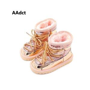 Aadct inverno pelliccia calda ragazze stivali moda principessa nuovo snow stivali per bambini per ragazze paillettes cotone scarpe da bambini marca 201225