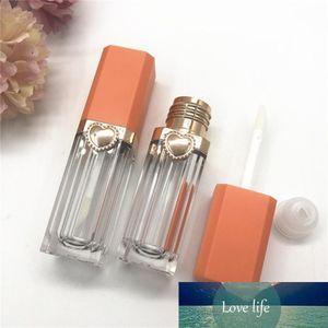 1pc 9 ml Chiaro Vuoto Lip Gloss Tubo Piazza Orange coperchio trasparente Lip Glaze tubo Mini Vial cosmetico imballaggio contenitore all'ingrosso