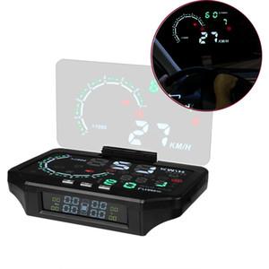 Car HUD Head Up Display Tire Pressure Monitoring Sensor Color Projection Overspeed Alarm Monitor Diagnostic Projector