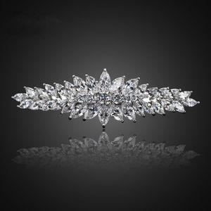 Barrette Fashion Bridal Zircon Hairpin Top Sleek Minimalist Spring Clip Head Wedding Hair Piece Jewelry F00046