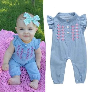 Cute baby girls denim romper Infant Newborn Baby Girl embroidery Playsuit Jumpsuit Body suit summer baby girl Clothing 201027