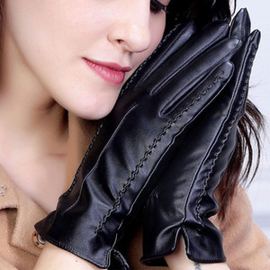 Solid Color Thickened Warm Mittens Driving Gloves Women PU Leather Gloves Touch Screen Full Fingers 1Pairs Windproof Waterproof