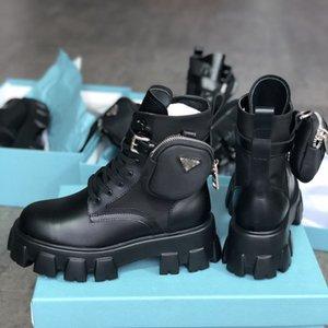 2021 Top Rois mujeres botas de invierno dril de algodón de Combate Zapatos Botas de piel de becerro de nylon de las señoras al aire libre desmontable Bolsa de nylon Martin Botas