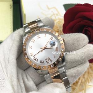 Top Hot Hot Mens Automatic Roma Reloj Noctilucent Business Impermeable Reloj de lujo Steel Diamond Strap Relogio Women 36mm