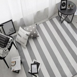 Modern Geometric Striped Carpet Rugs Korean Style Living Room Table Children Carpet Non-Slip Home Decor Rectangle Bedroom Mats