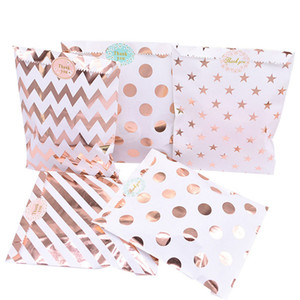 25pcs set Gift Bags Paper Pouch Rose Gold Paper Food Safe Bags Birthday Wedding Party Favors c For Guests 30set T1I3503