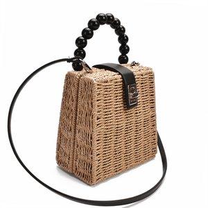 New female straw bag women Crossbody bag paper rope bead handle handbag Box Shoulder Bag Beach Holiday Bags 201006